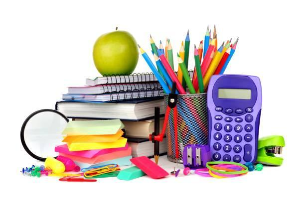 Stock picture of school supplies