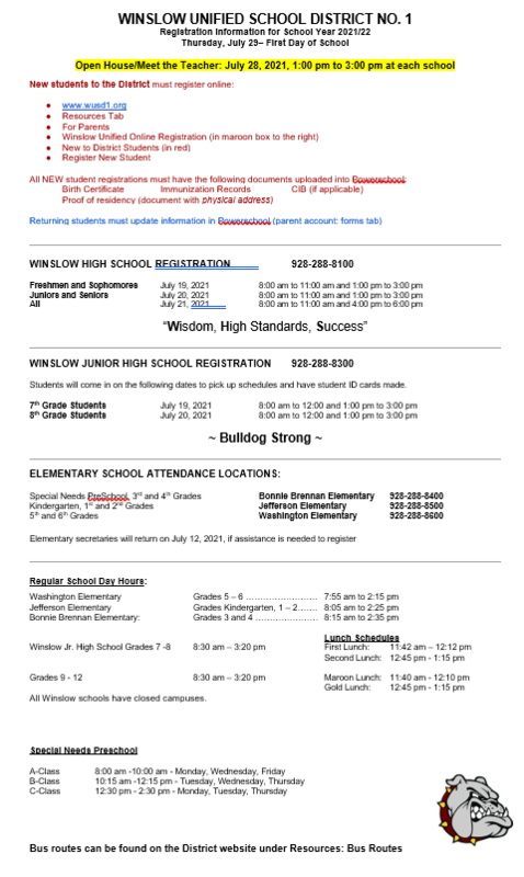 Registration Information for 2021/2022 School Year Featured Photo