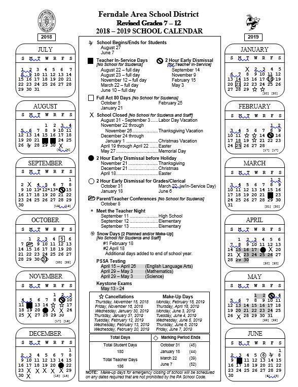 2018 - 2019 Grades 7-12 School Calendar