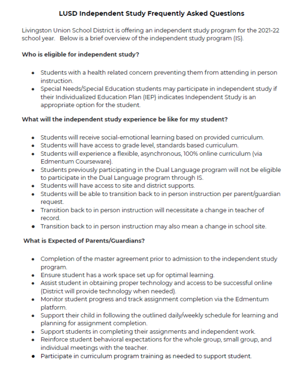 Independent Study FAQs