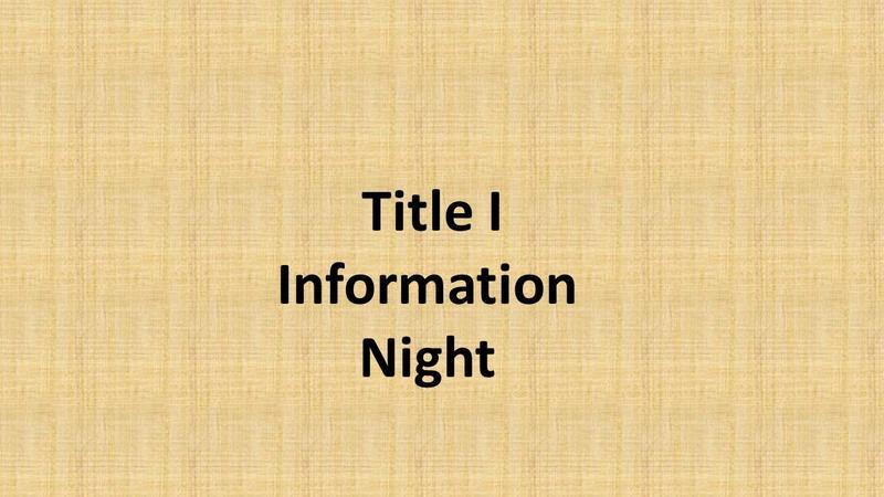 Title I Night