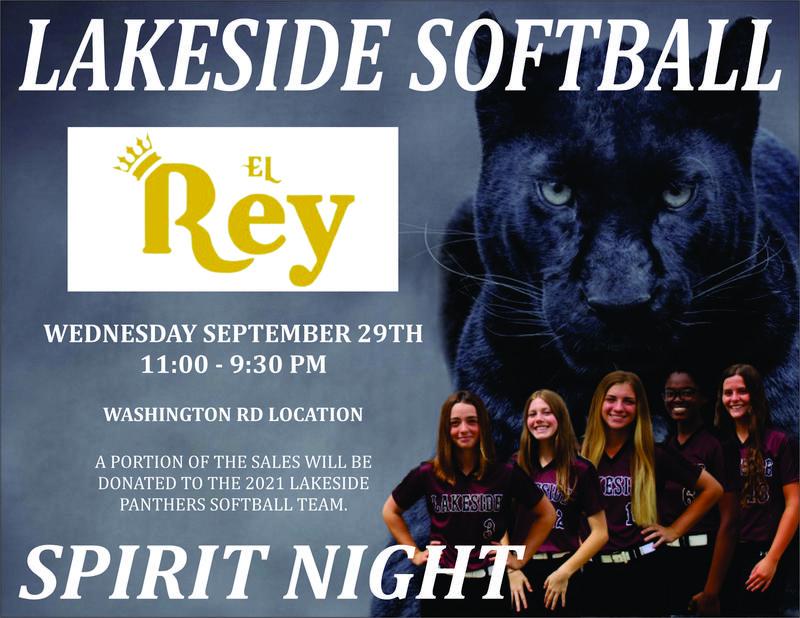 El Rey Spirit night Wednesday, Sept. 28th