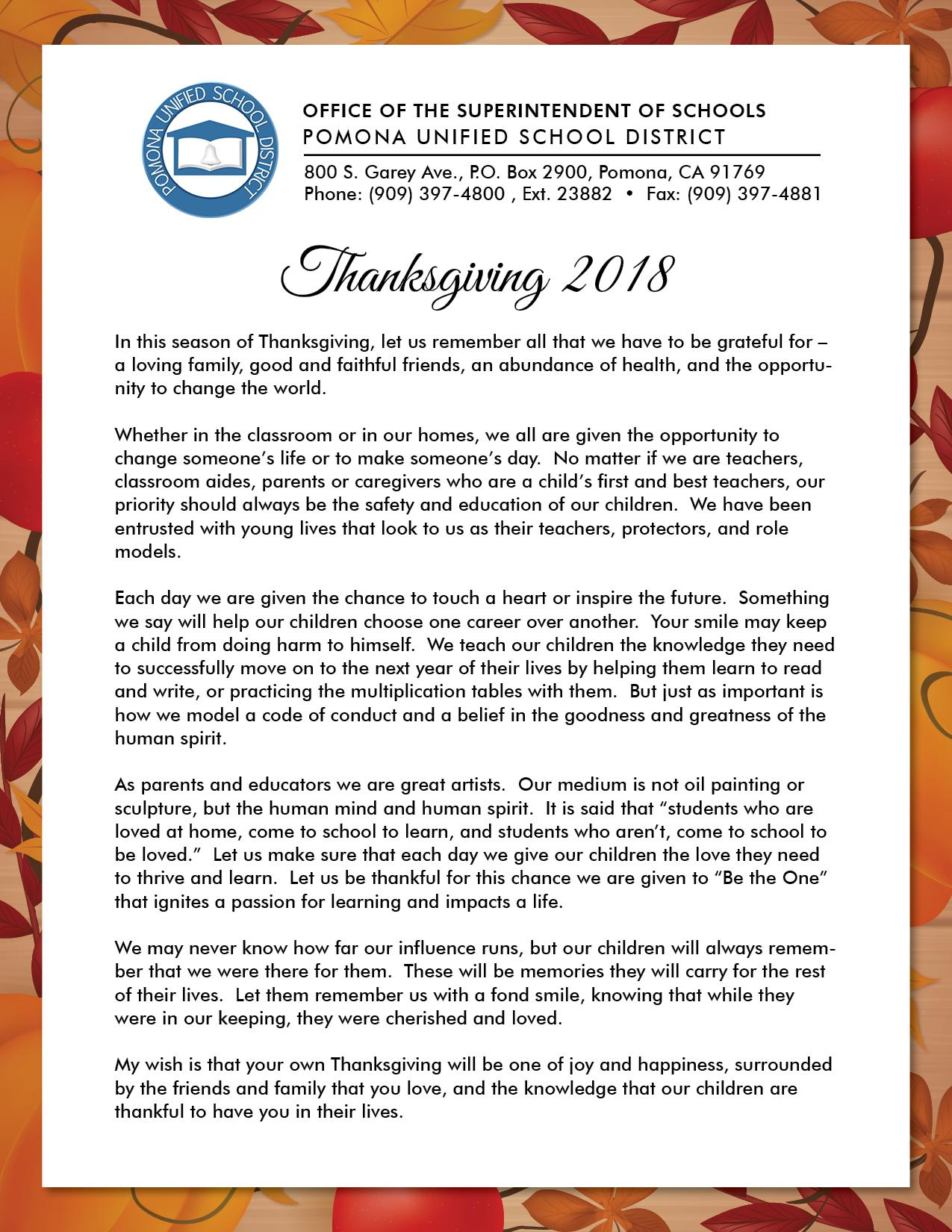 Thanksgiving 2018 - In this season of Thanksgiving, let us remember all that we have to be grateful for – a loving family, good and faithful friends...#PROUD2bePUSD http://edl.io/n952347