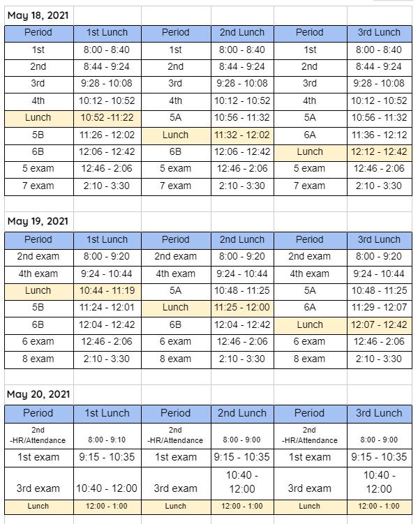 Final Exam Schedule Featured Photo