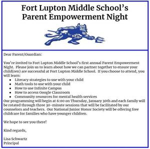 Fort Lupton Middle School Parent Empowerment Flyer