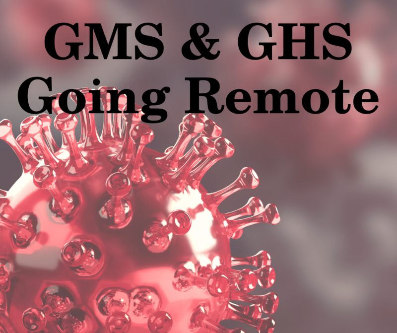 covid virus image with text gms and ghs going remote