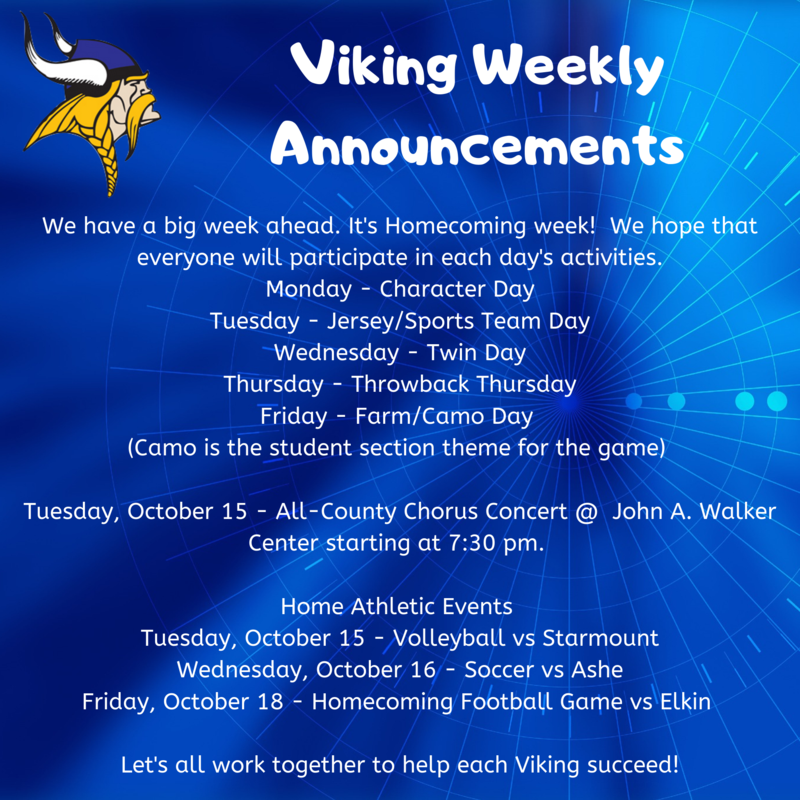Weekly Announcements 10/14 - 10/18 Thumbnail Image