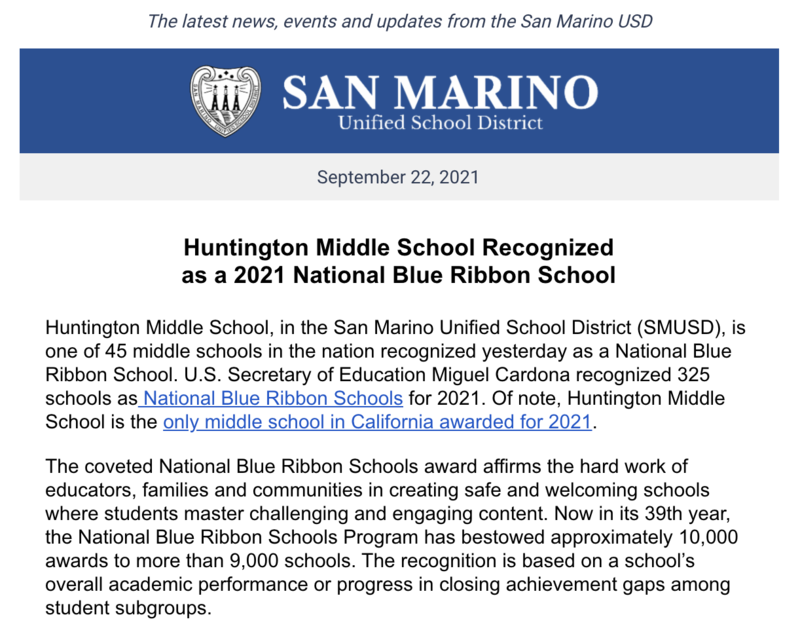 One of 45 middle schools in the nation. Only one in California.