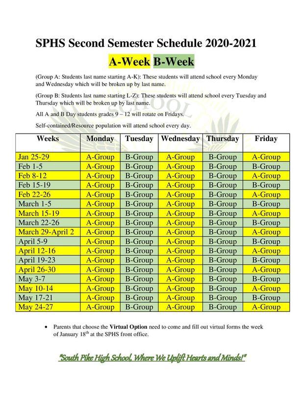 2020-2021 Second Semester Schedule Featured Photo