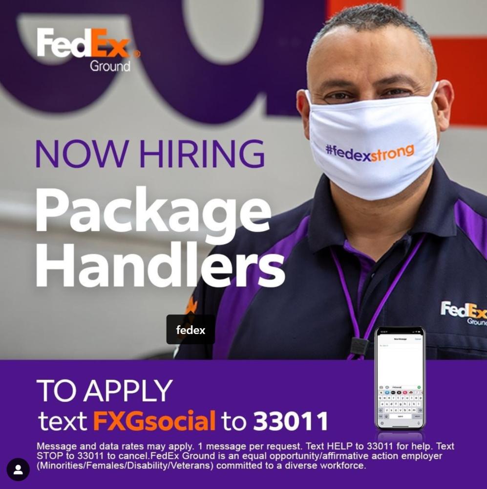 Now Hiring Package Handlers at Fed Ex