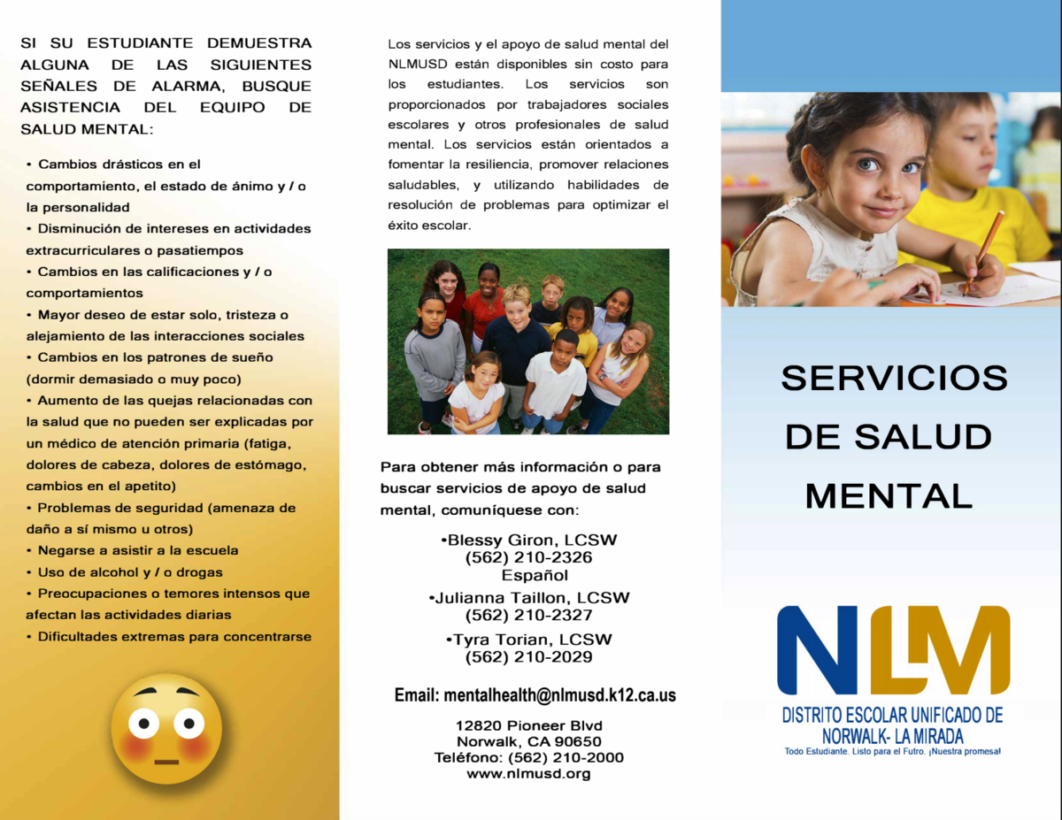 Mental Health Services Pamphlet - Spanish
