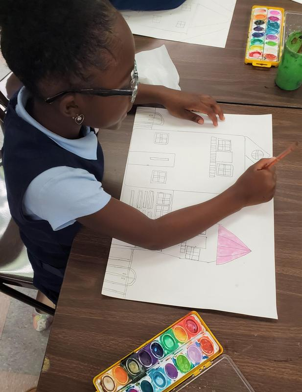 Daly's 2nd grade ART students paint Victorian Architecture projects (2).jpg