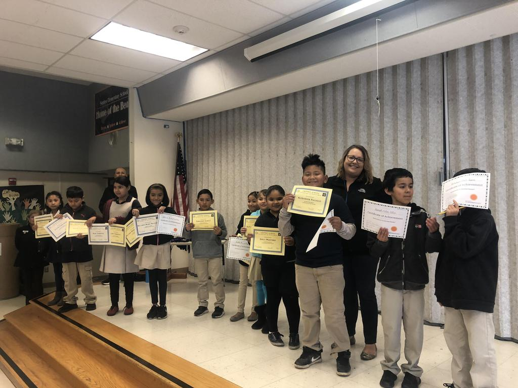 trimester one award winners in Ms. Kerrick's class pose for picture