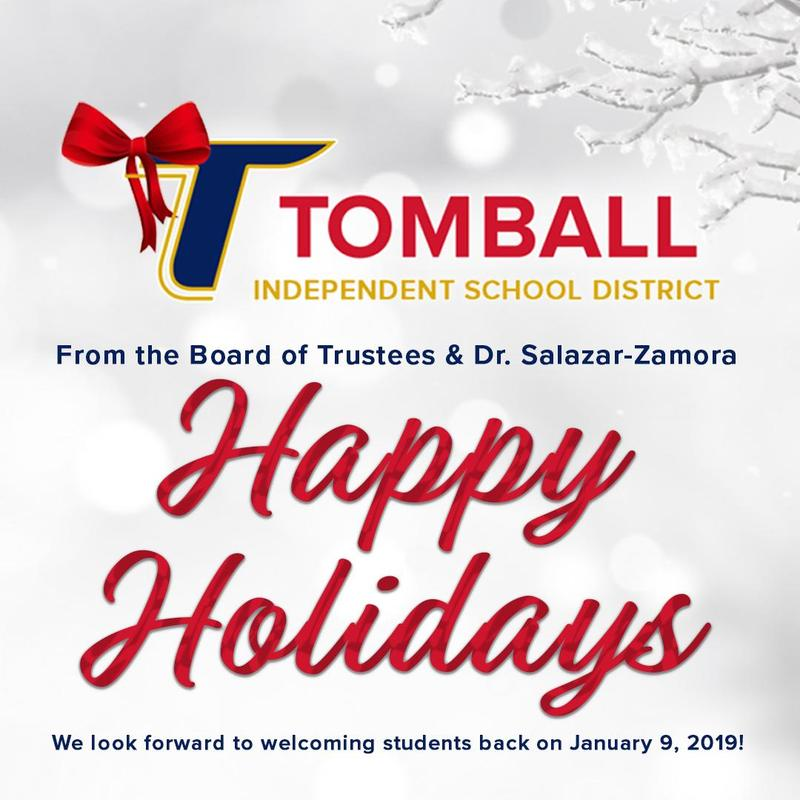 we wish you a very merry christmas happy holidays and a happy new year thank you for all you do to continue to make tomball isd not just a district