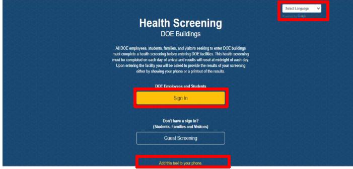 Health Screen Options