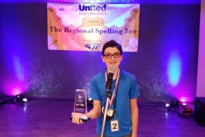 Matthew Noel at the regional spelling bee