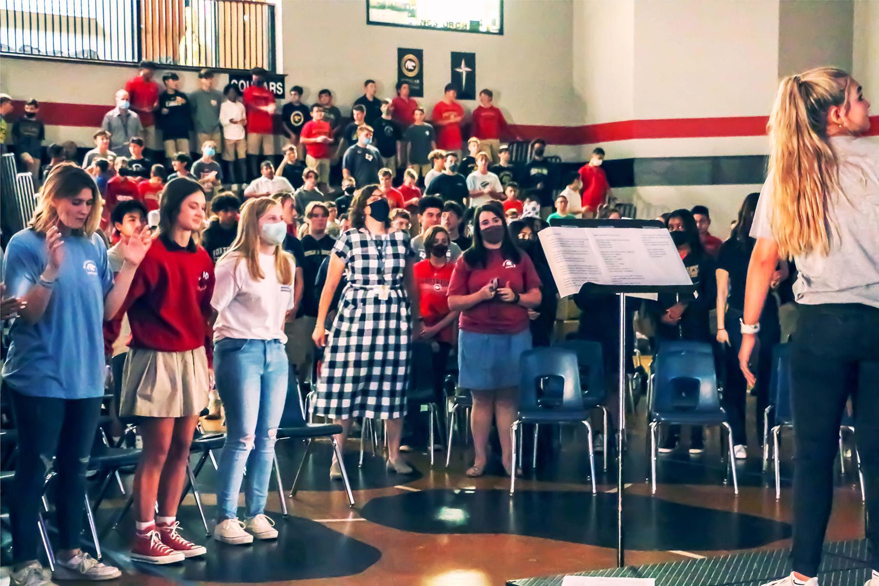 students leading chapel