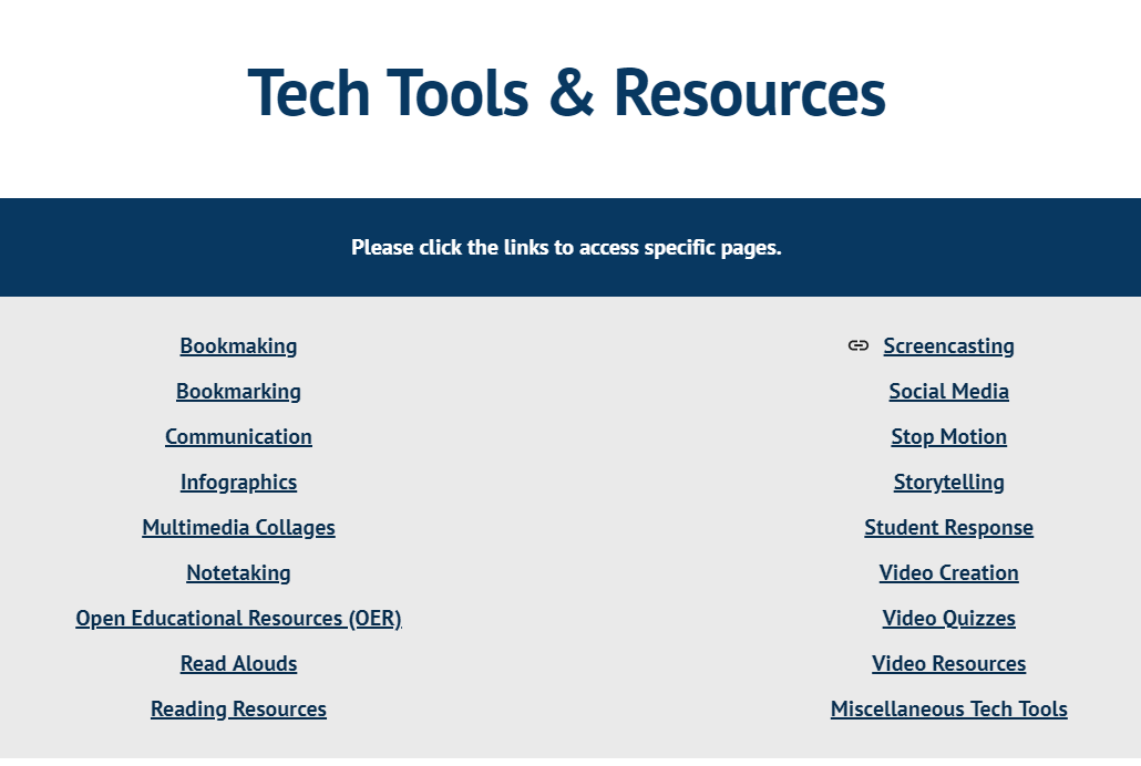 screenshot of tech tools & resources page