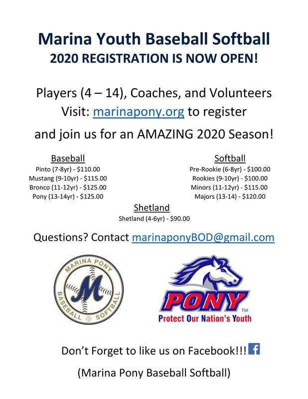 Marina Youth Baseball Registration Featured Photo