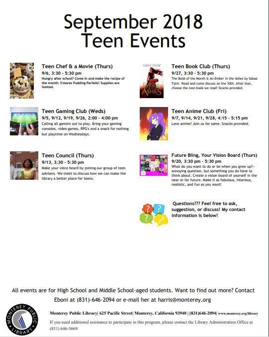 Library Teen Events