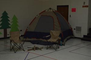 Gym set up for Reading Night.