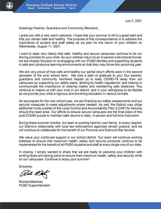 Superintendent Martinez Summer Letter to the Community