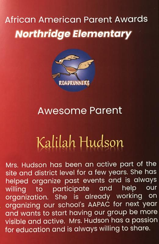 Kalilah Hudson recognition
