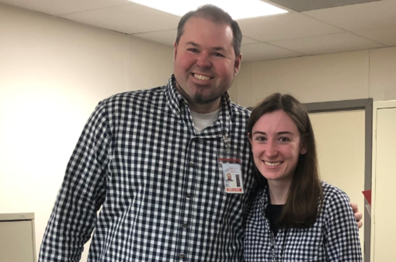 Mr. Mahler and Annalise Carlin wearning the same clothing.