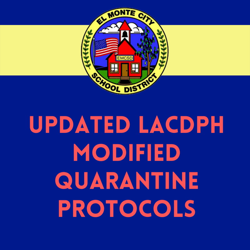 Graphic with EMCSD Logo and reads: Updated LACDPH Modified Quarantine Protocols
