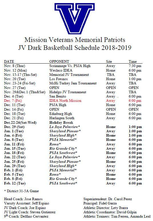VMHS JV Dark Schedule