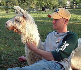 Steven, my son, and Peaches the llama.