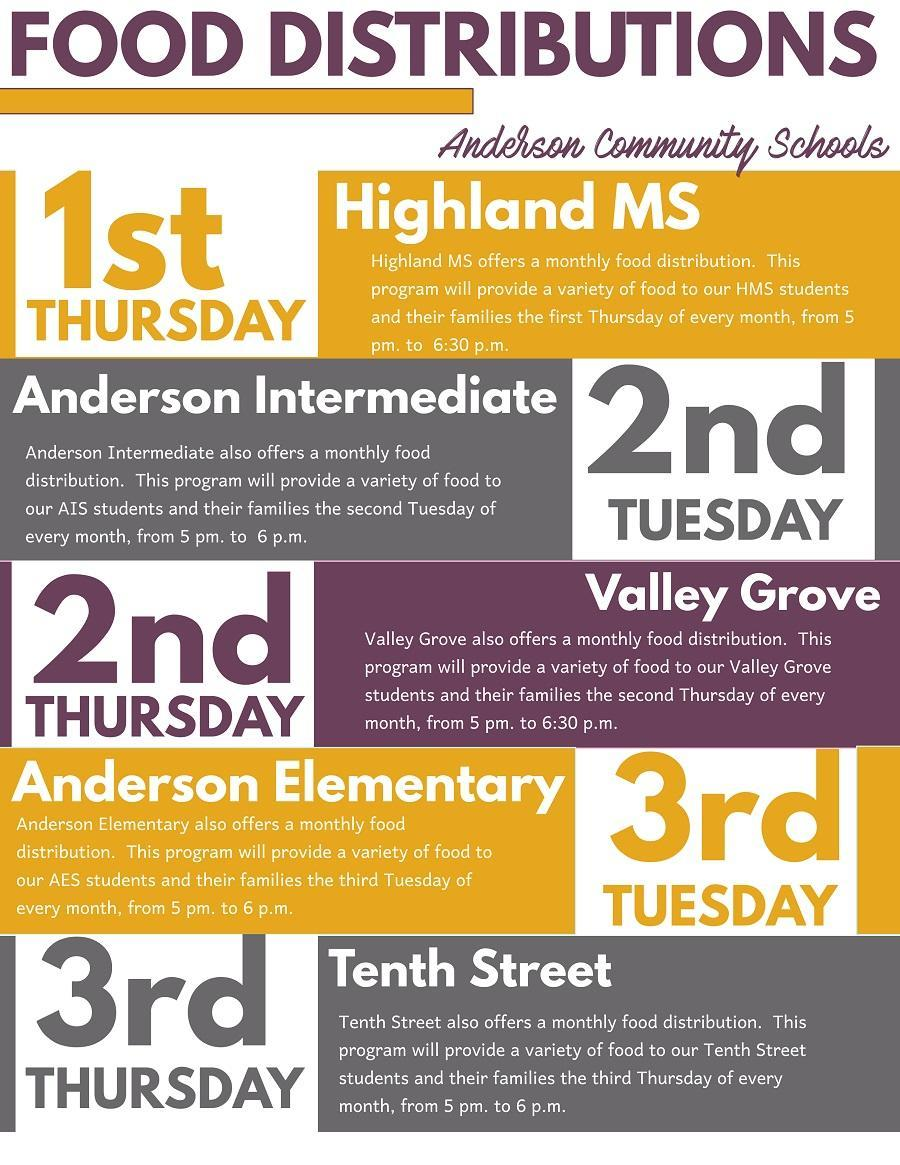 Information about food distribution dates for several ACS schools