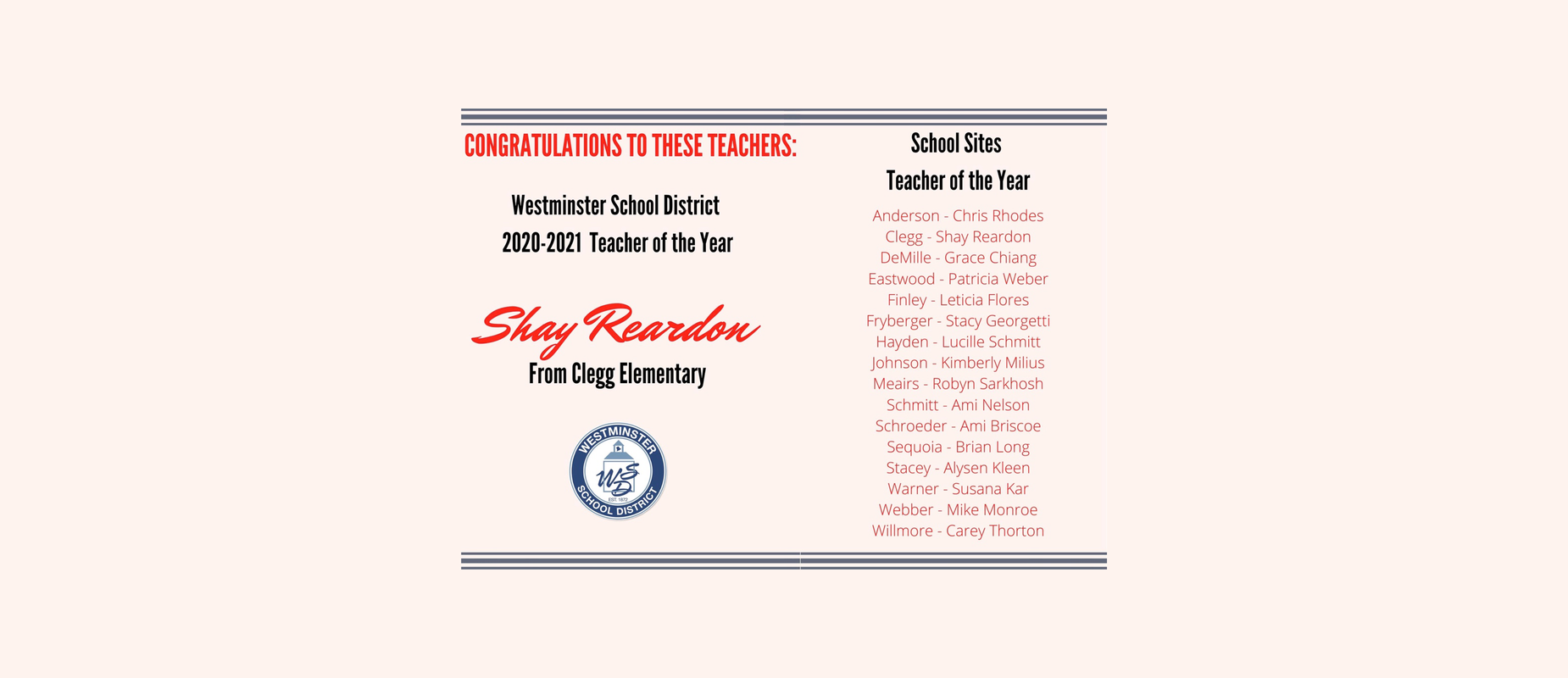 Teacher of the Year 2020 Image