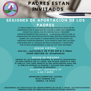 flyer for parent input session in spanish