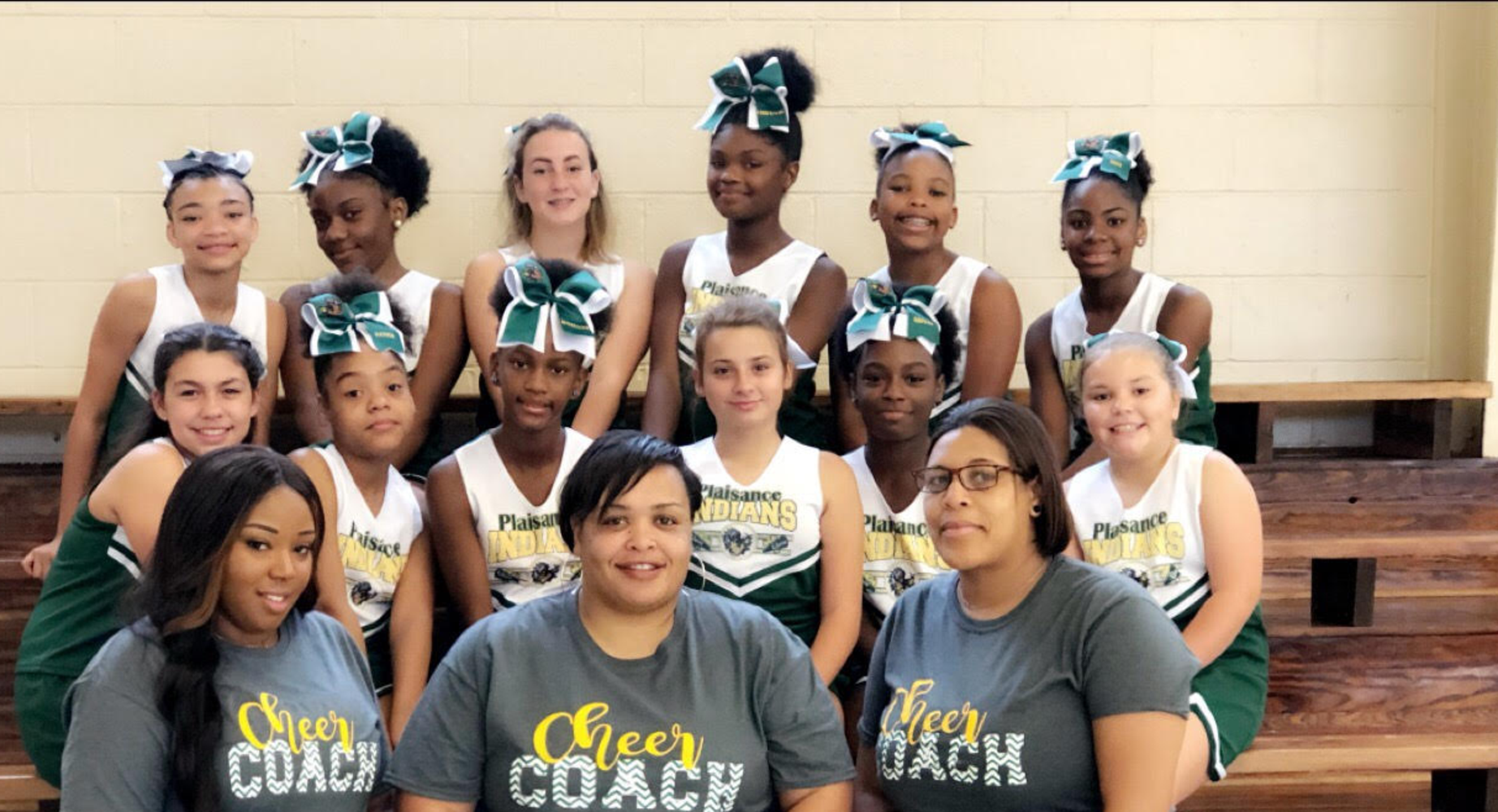 Plaisance Middle School 2019-2020 Cheerleaders and Coaches! Go Indians
