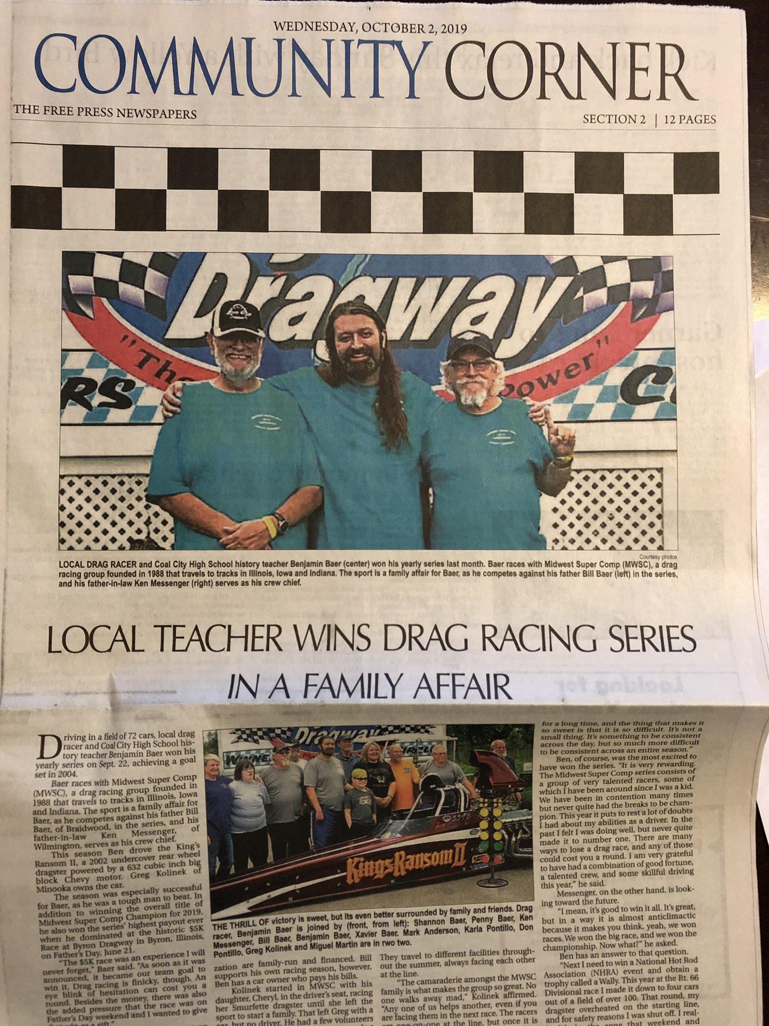 A newspaper that says local teacher wins drag racing series.