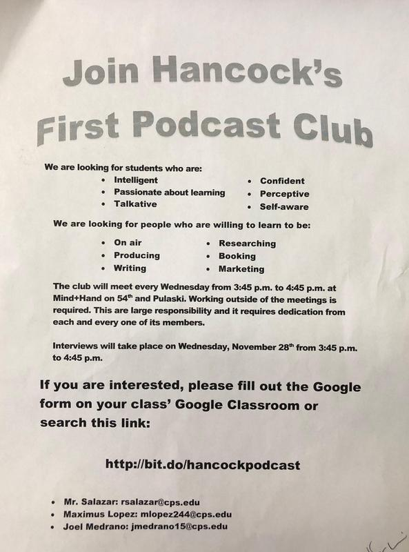 Join Hancock's Podcast Club