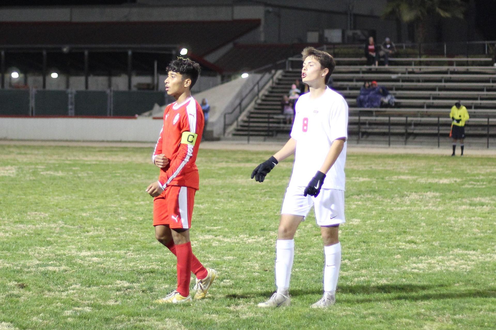 Luis Reyes looking down the field