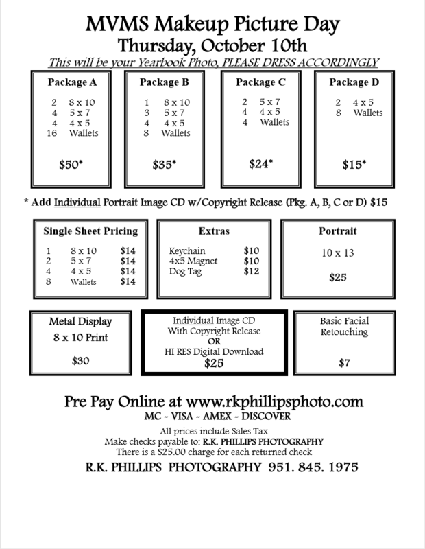 Makeup Picture day prices