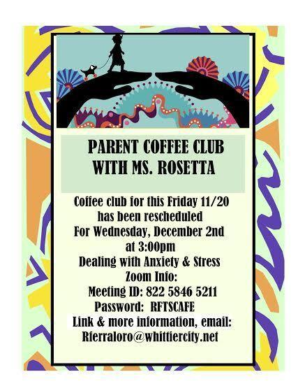 Flyer for Parent Coffee Club 12/2/20 @ 3pm