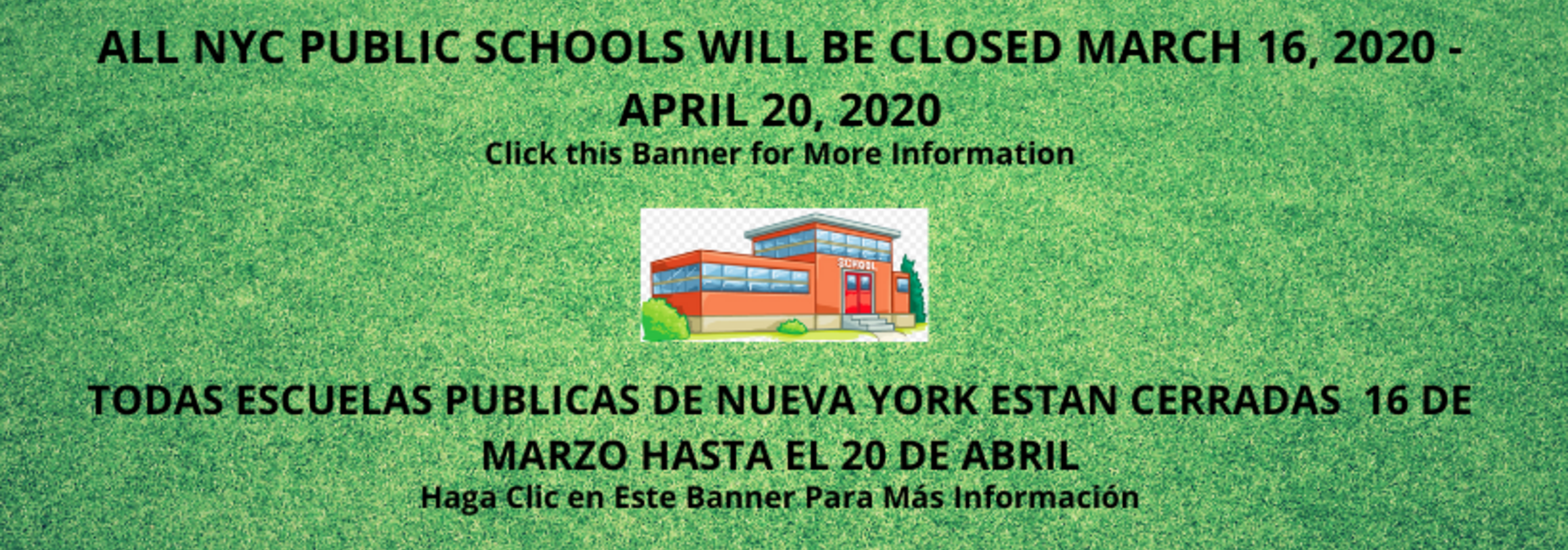 GREEN BANNER ANNOUNCING SCHOOLS ARE CLOSED DUE TO COVID 19