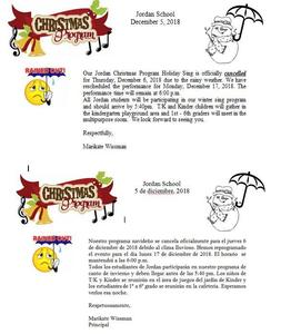 Cancellation Notice for Christmas Performance