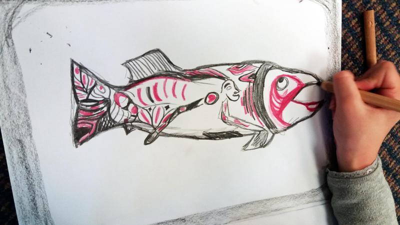 Salmon drawing