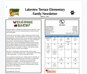 Screenshot for Lakeview's back to school newsletter