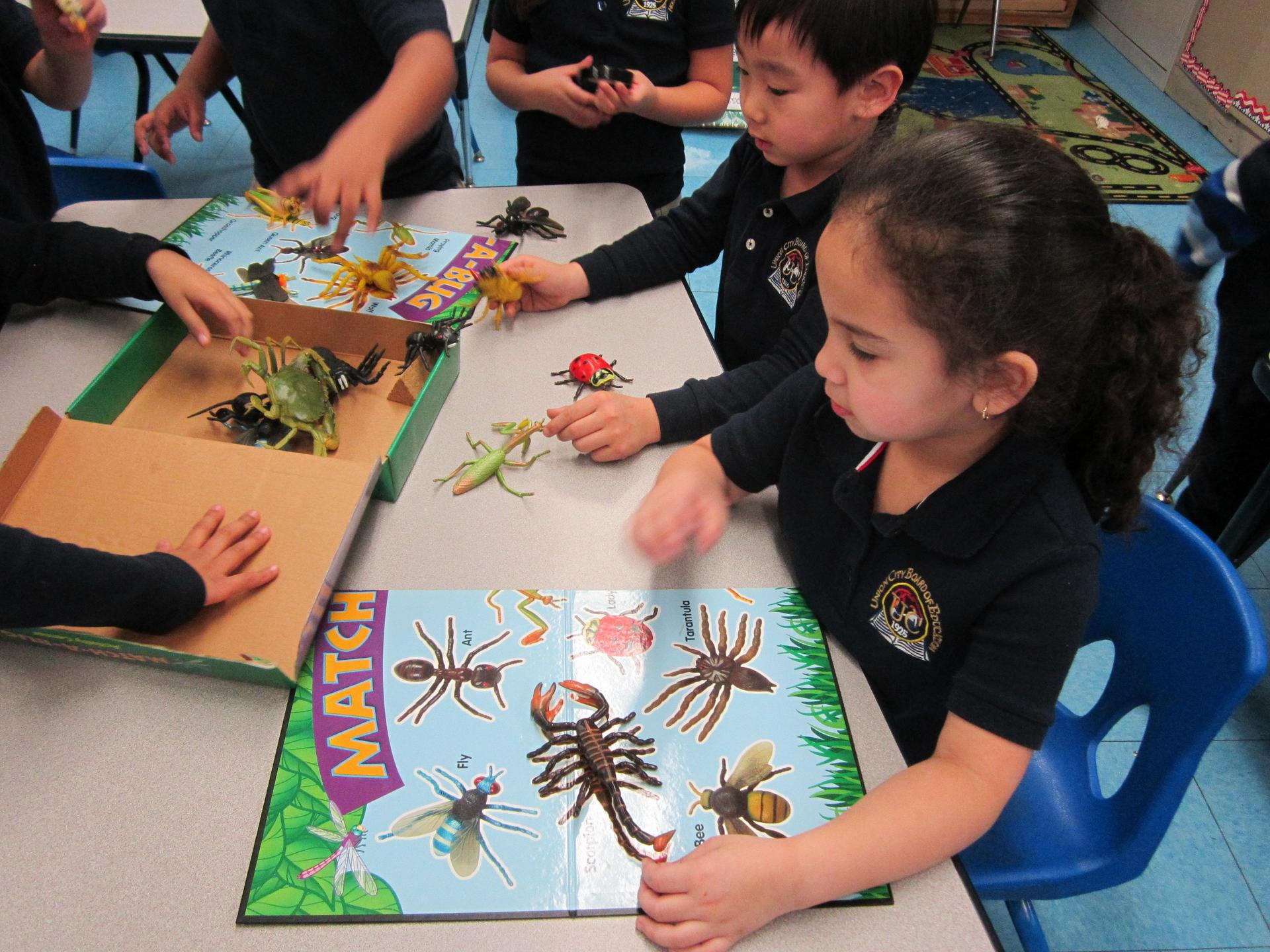 kids looking at plastic bugs with a magnifying glass