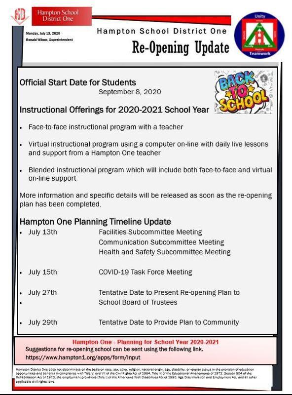 Re Opening Communication Update July 13 2020