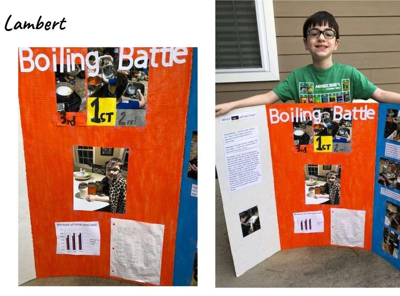 Student displaying science fair project