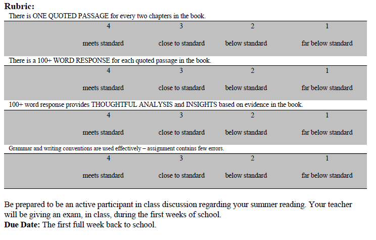 Summer Reading Info Grades 9-10 page 2