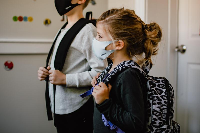 Kids in masks at school