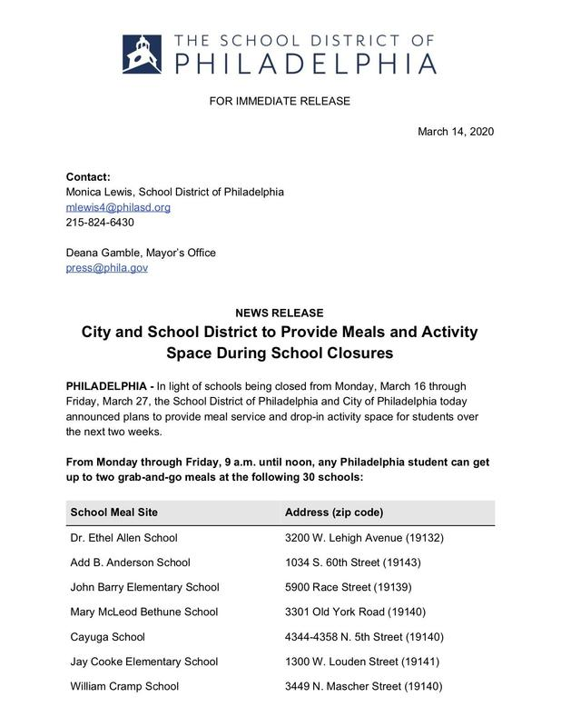 City and School District to Provide Meals and Activity Space During School Closures Featured Photo